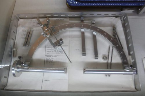 Stereotactic frame used for DBS surgery scaled
