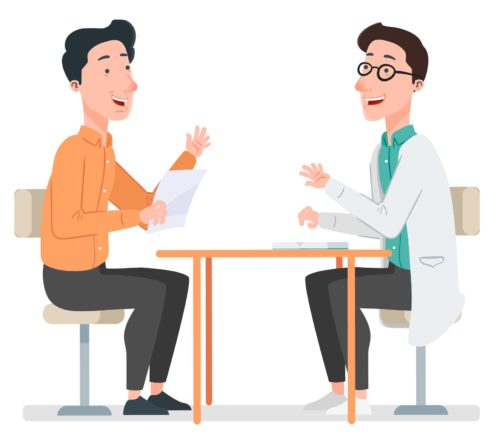 Doctor talking to patient about DBS for Parkinson's